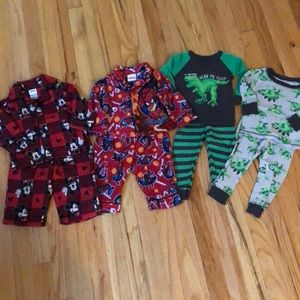 Four pairs of boys sz 12mo winter pajamas